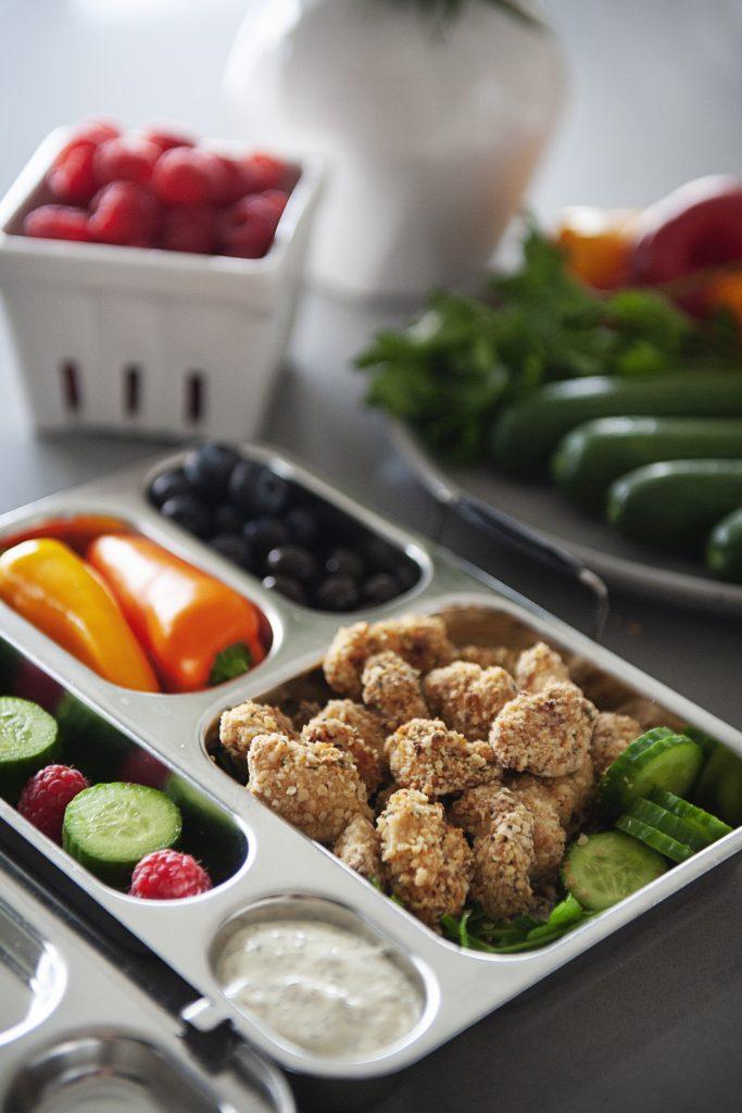 Protein Bento – Crispy Chicken Poppers