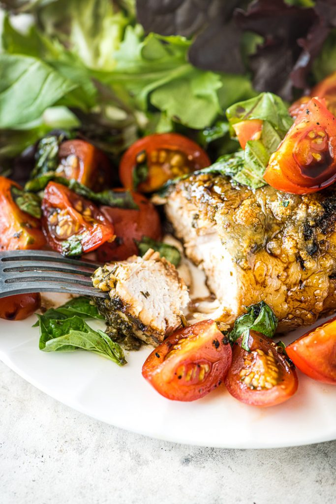 Grilled Caprese Chicken & Greens - Close-up