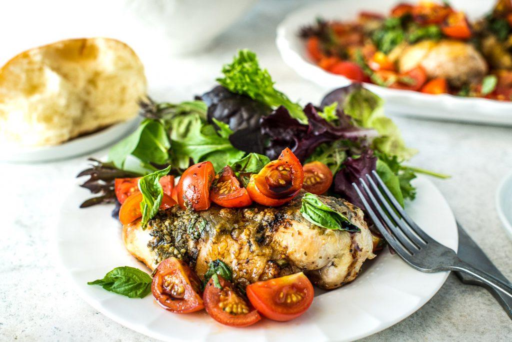 Grilled Caprese Chicken & Greens - Horizontal