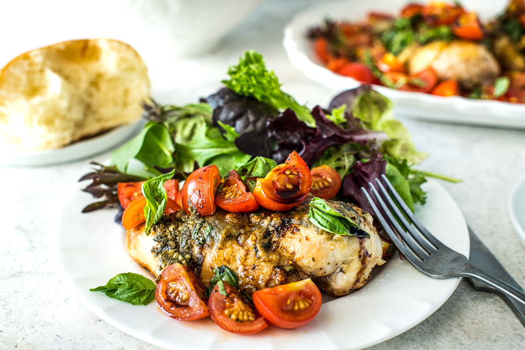 Grilled Caprese Chicken & Greens - Horizontal