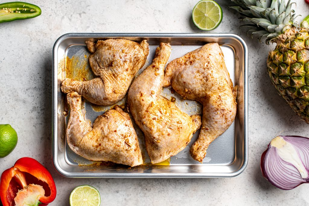Air-Fryer Tropical Chicken with Marinade on Pan