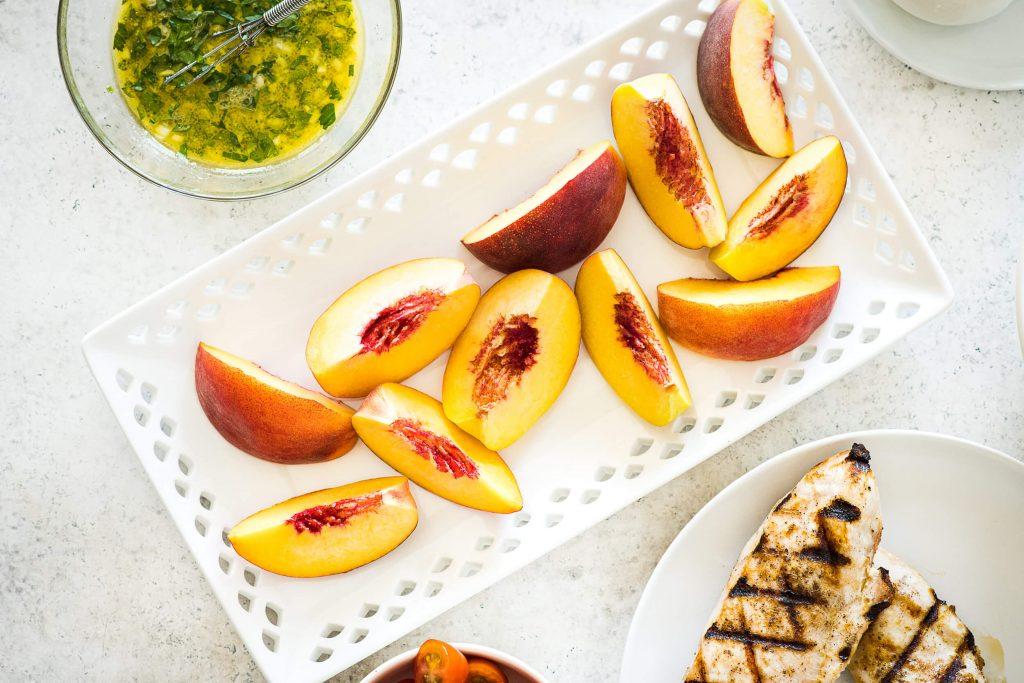 Charred Peach & Chicken Salad with Creamy Burrata - Peaches