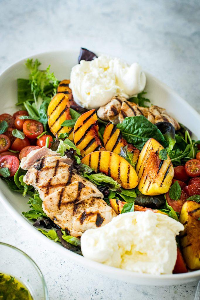 Charred Peach & Chicken Salad with Creamy Burrata - Vertical