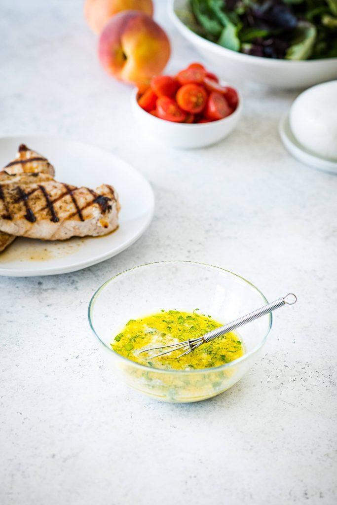 Charred Peach & Chicken Salad with Creamy Burrata - Vinaigrette