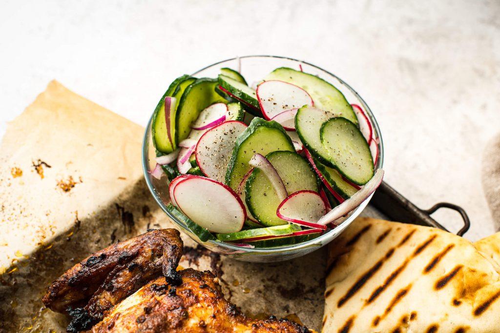 Spatchcocked Tandoori-Style Chicken with Cucumber Salad & Naan - Salad